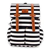 Kaydee Baby Unisex Canvas Diaper Tote Backpack Bag with Stroller Straps and Changing Pad - For Men and Women (White and Black Stripe) …