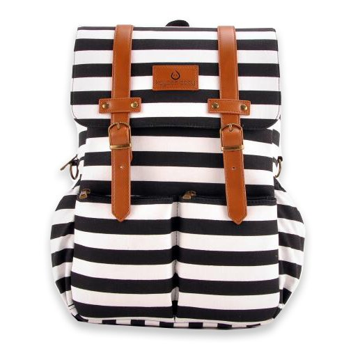 Kaydee Baby Unisex Canvas Diaper Tote Backpack Bag with Stroller Straps and Changing Pad - For Men and Women (Black and White Stripe)