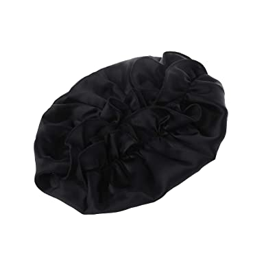 Super Smooth for Natural Hair Black Double Layer Lunji Large Sleep Cap Womens Satin Bonnet for Sleeping Extra Large