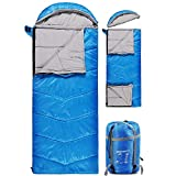 REDCAMP Kids Sleeping Bag for Camping with Detachable Hood, 40 Degree 3 Season Warm or Cold Weather Fit Boys, Girls & Teens (Blue with 3lbs Filling)