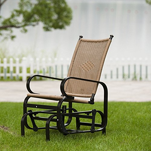 patiopost glider chair outdoor pe wicker patio rocking tan chairs garden yard ebay. Black Bedroom Furniture Sets. Home Design Ideas
