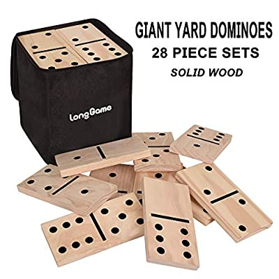28 Pieces Giant Wooden Dominoes Game Jumbo Natural 5.9 X 2.95 Inches Wood Kids Adults Family Outdoor Lawn Yard Games (Large): Toys & Games