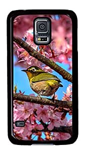 Diy Fashion Case for Samsung Galaxy S5,Black Plastic Case Shell for Samsung Galaxy S5 i9600 with Japanese White Eye Hiding In Sakura