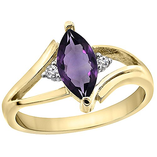 14K Yellow Gold Natural Amethyst Ring Marquise 10x5mm Diamond Accent, size 8 (Shape Marquise Si1 Solitaire Diamond)