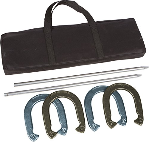 Trademark Innovations Pro Horseshoe Set - Powder Coated Steel with Carry Case (Gold and Silver) ()