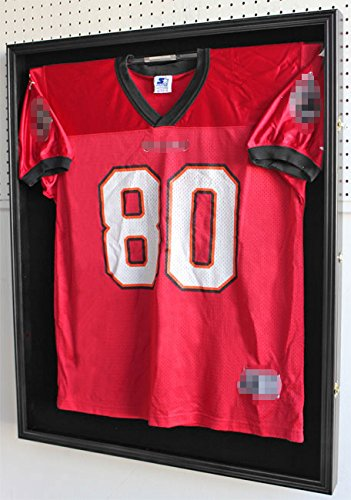 XX Large Football/Hockey Uniform Jersey Display Case frame, UV Protection ULTRA CLEAR, LOCKS (Black Finish) by DisplayGifts