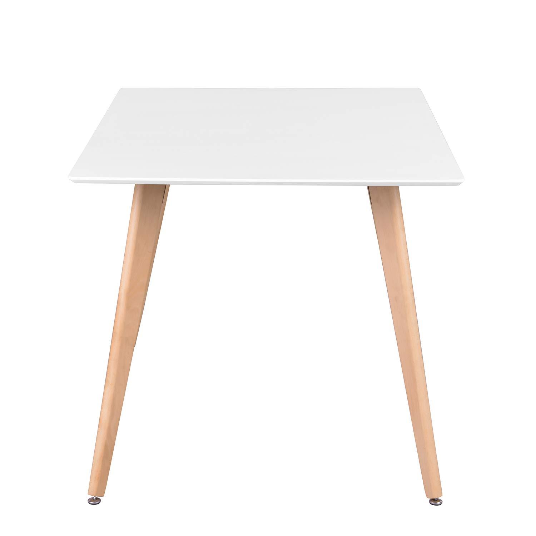 FurnitureR Dining Table Rectangular Top Dining Desk 44'' x 28'' Leisure Cofffee Table 2-4 People Wood Beech White Kitchen Desk by FurnitureR (Image #5)