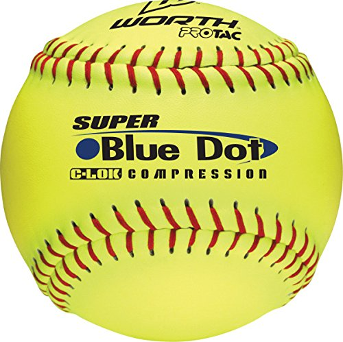 Worth 47/525 Synthetic Blue Dot Yellow Softball, 3-Inch (One Dozen) -