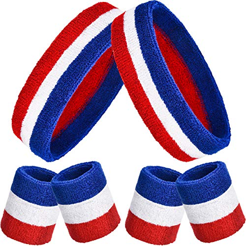 Bememo 6 Pieces Striped Sweatbands Set, Includes 2 Pieces Sports Headband and 4 Pieces Wristbands Sweatbands Colorful Cotton Striped Sweatband Set for Men and Women (Red White and Blue) (Headband Piece 2)