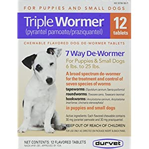 DURVET 12-Pack Triple Wormer Tablets for Puppies and Small Dogs 5