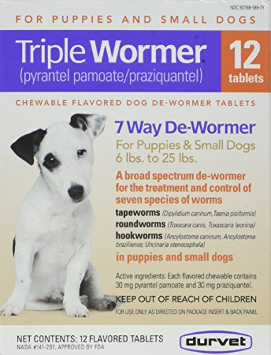 25 Lbs Flavor Tabs - DURVET 12-Pack Triple Wormer Tablets for Puppies and Small Dogs