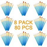 AOOK 80 Pieces Paint Brush Set Professional Paint Brushes Artist for Watercolor Oil Acrylic Painting (8-Pack 80pcs)