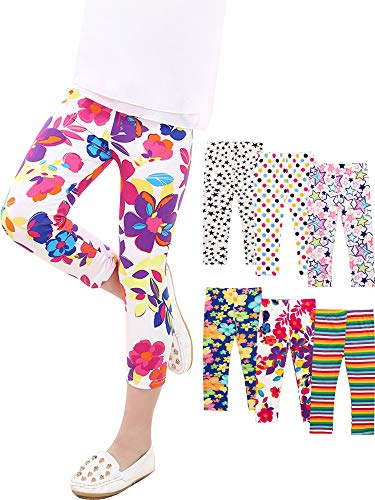 Syhood 6 Pieces Girls Print Stretchy Tights Leggings Cropped Pants for Kids, 6 Colors (6T/7T)
