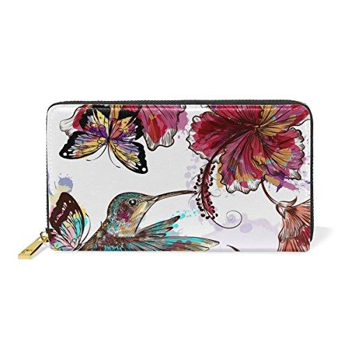 Flowers Tropical TIZORAX And 2 Organizer Zip Hummingbird Around Handbags Wallet Clutch Navy Pattern Womens Purses wEaaCq