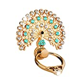 Dolloress Luxury Peacock Crystal Mobile Phone Holder Watch Shape Metal Finger Ring Stand Holder Phone Bracket (Blue)