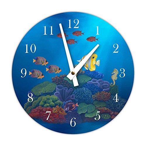 Instant Murals Design Under The Sea Ocean Tropical Fish Themed Clock, Underwater Scene ()