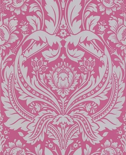 Pink And Black Damask Wallpaper - 2