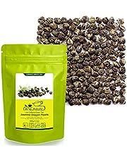 LWXLJMJZC-100g/3.53oz Fresh Jasmine Flavor Dragon Pearls Green Tea-Loose Leaf Green Tea with Pleasant Jamsine Aroma and Tonic Effect