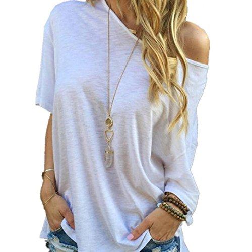 Exclusive Fashion Women Summer Short Sleeve Blouse ,Ninasill New Casual Tops T-Shirt White Oblique Shoulder Blouse (M) - Exclusive Crochet