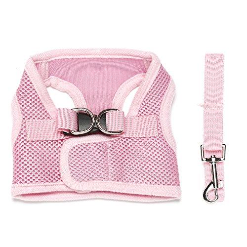 Contever® Verstellbar Rückseite Clip Harness Hundegeschirr Welpengeschirr Softgeschirr Brustgeschirr Halsbänder mit Leine (L: Brustumfang 34-38cm)-Rosa