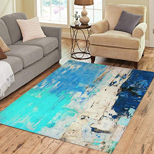 Pinbeam Area Rug Beige Modern Turquoise and Blue Abstract Painting Brown Home Decor Floor Rug 5' x 7' Carpet