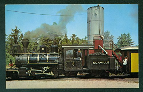 Edaville No 8 Steam Engine Train WATER TOWER Massachusetts MA Railroad Postcard