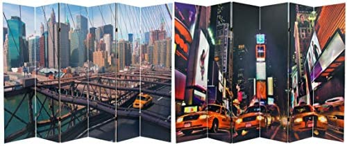 Oriental Furniture 6 ft. Tall Double Sided NY Taxi Room Divider