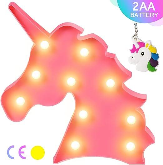 funciona con pilas AIZESI L/ámpara de mesa con dise/ño de unicornio 3D