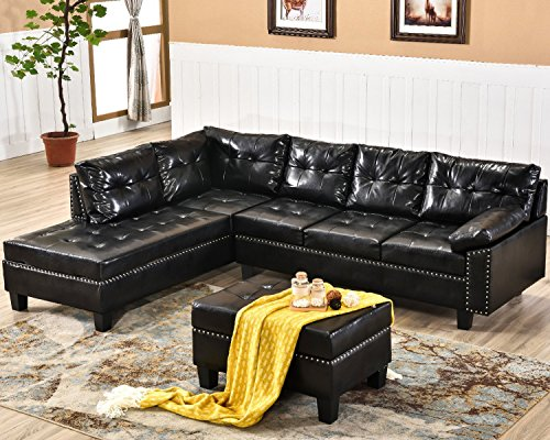 Harper & Bright Designs Sectional Sofa Set with Chaise Lounge and Storage Ottoman Nail Head Detail (Dark Brown)