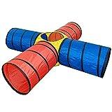 SueSport 4-way Tunnel Pop-up Fun Junction Set 8 Feet Toy Tent Kids Play Tube