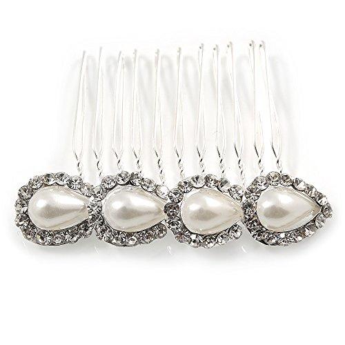 Medium Bridal/ Prom/ Wedding/ Party Rhodium Plated Faux Pearl, Clear Austrian Crystal Side Hair Comb - 60mm Width ()