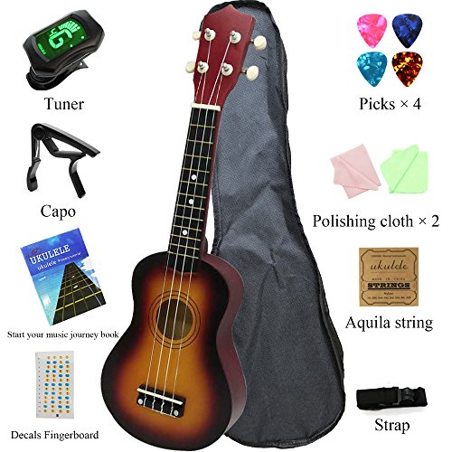 MELODIC Basswood Soprano Ukulele Hawaii Guitar Strong Wind 21' 4 Strings,Starter Set with Gig Bag,Polishing Cloth,Strings,Picks and Strap (21 inch, sunshine Red)