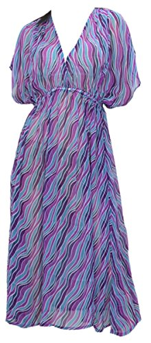 La Leela Sheer Chiffon Purple Wave Printed Long Kaftan Caftan