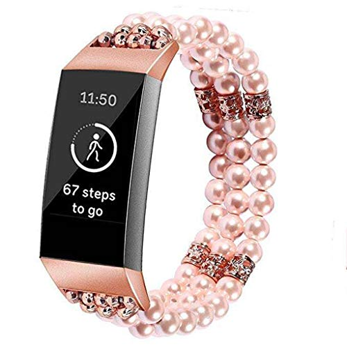 Bling Band Compatible For Fitbit Charge 3 Replacement Watch Strap, 2019HOHO Women Bracelet Bead Jewelry Metal Rhinestone Bangle Applicable For Fitbit Charge 3