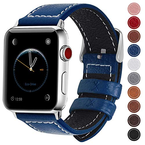 Fullmosa Compatible Apple Watch Band 38mm 40mm 42mm 44mm Genuine Leather iWatch Bands, 42mm 44mm Dark Blue + Silver Buckle