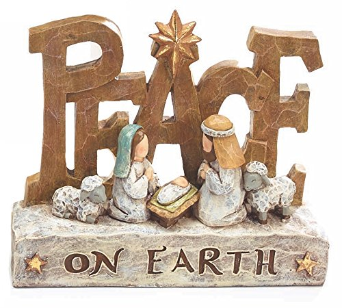 Sculpted Nativity Scene Figures with Christmas Messages - Tabletop Holiday Decorations (Peace) -