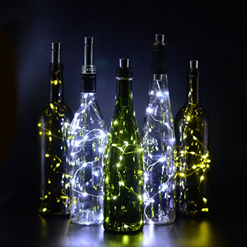 [Bottle Cork Lights, iGopeaks 30inch/ 75cm 15 LED Copper Wire Lights String Starry LED Lights - Up to 72 hours Lighting - for Wine Bottle DIY, Party, Decor, Christmas, Halloween, Wedding -] (Diy Halloween Decor)