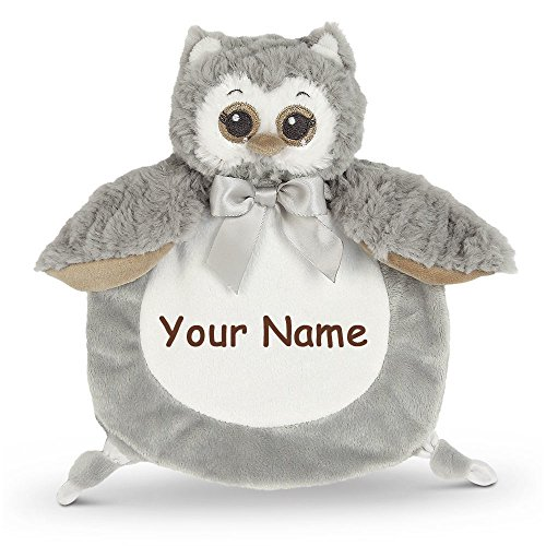 - Personalized Bearington Baby Collection Wee Owlie Grey and White Plush Owl Snuggler Baby Blanket with Name Embroidery - 9 Inches