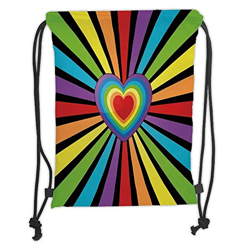 tring Backpacks Bags,Rainbow,Multiple Hearts Combined to Form a Bigger Heart with Symmetrical Lined Background Decorative,Multicolor Soft Satin,5 Liter Capacity,Adjustable Str ()