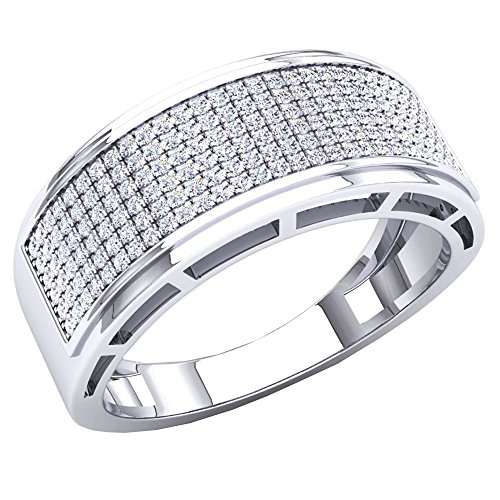 0.50 Carat (Ctw) 10K White Gold Round White Diamond Men's Hip Hop Wedding Band 1/2 CT (Size 9) by DazzlingRock Collection