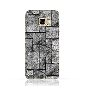 Samsung Galaxy C7 TPU Silicone Case with Stoney Wall Pattern Design.