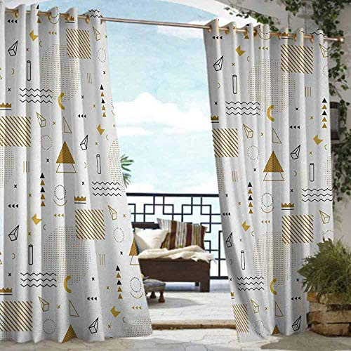 S Brave Sky Indie Outdoor Curtain Waterproof Memphis Fashion Elements Minimalistic Geometric Figures Abstract Vintage Artsy Outdoor Curtain for Patio Furniture Gold Black White (Furniture Memphis Patio)