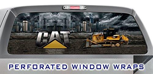 ITI Global Designs CAT 002 STORM CITY WINDOW WRAP : Caterpillar Bulldozer Semi Truck : Truck Car Rear Decal Sticker
