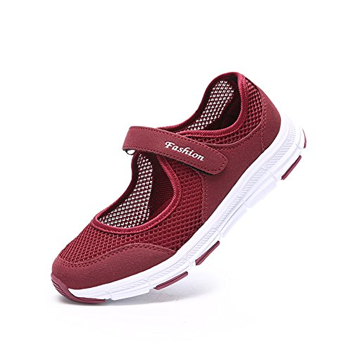 Mary Red HQUEC Trainers Running Womens Janes Sandals Velcro Mesh Sports Ladies 8w8Ovxq