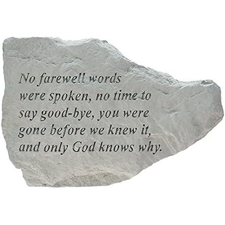 No Farewell Words Were Spoken Memorial Accent Stone