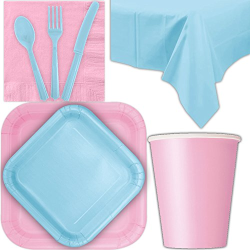 Disposable Party Supplies for 28 Guests - Lovely Pink and Powder Blue - Square Dinner Plates, Square Dessert Plates, Cups, Lunch Napkins, Cutlery, and Tablecloths: Premium Quality Tableware Set