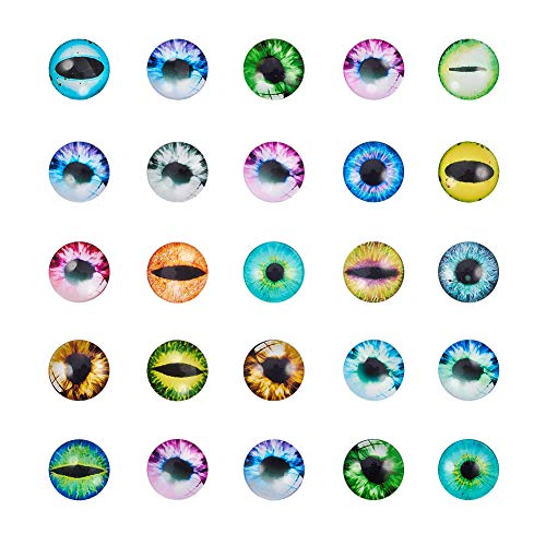 Pandahall 1 Box(About 50pcs) 25mm Mixed Color Printed Half Round/Dome Glass Cabochons for Jewelry Making (Evil Eye)