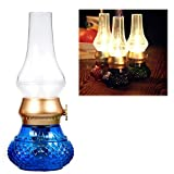Flameless LED Light, Decorative Rechargeable Flameless Candle Lantern, Vintage Oil Table Lamp with Blow ON/OFF Control, Dimmer Control Key, Kerosene Lamp , Bedside Lamp ,Small Night Light (Blue)
