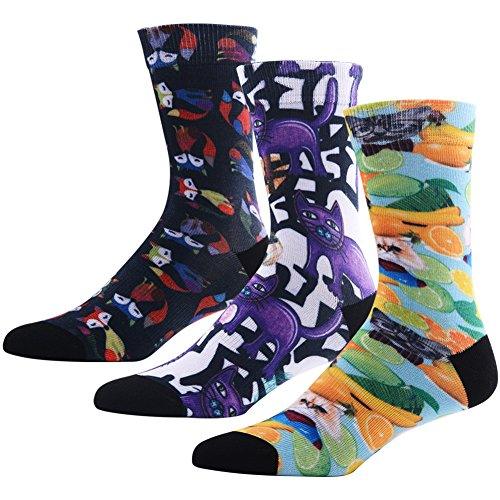 Funky Socks for Men and Boys, MEIKAN Cartoon Cat Fox Animals Pattern Digital Printed Mid Calf Crew Socks 3 Pairs