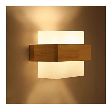 Wooden Glass Led Indoor Wall Lamps Wall Sconce Light Fixtures For Home Stairs Bedroom Lamp Bedside Cabinet Japanese Led Lamps Led Indoor Wall Lamps